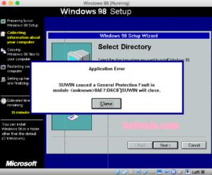 Windows 98 settings run