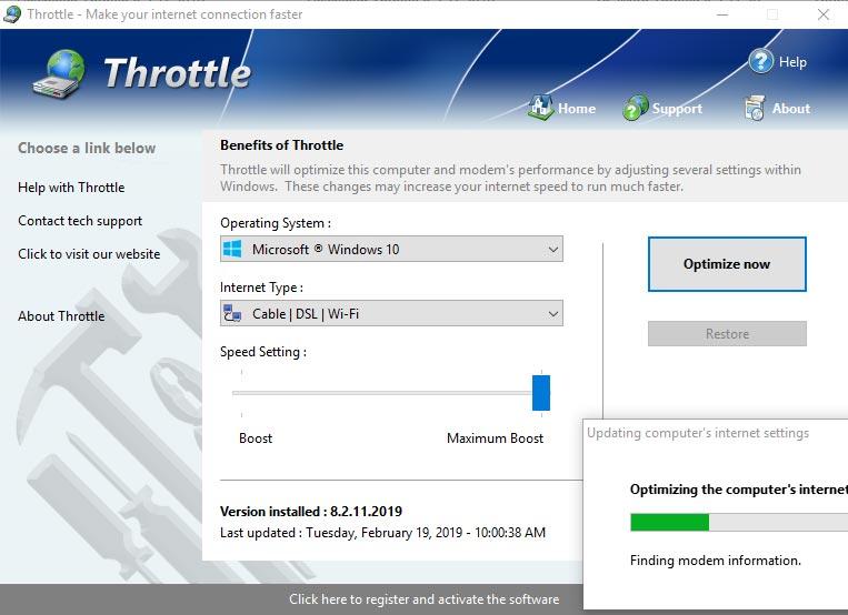 Throttle Internet Speed Booster application