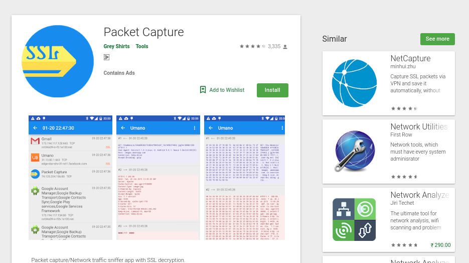 Alternatives to Wireshark for Android