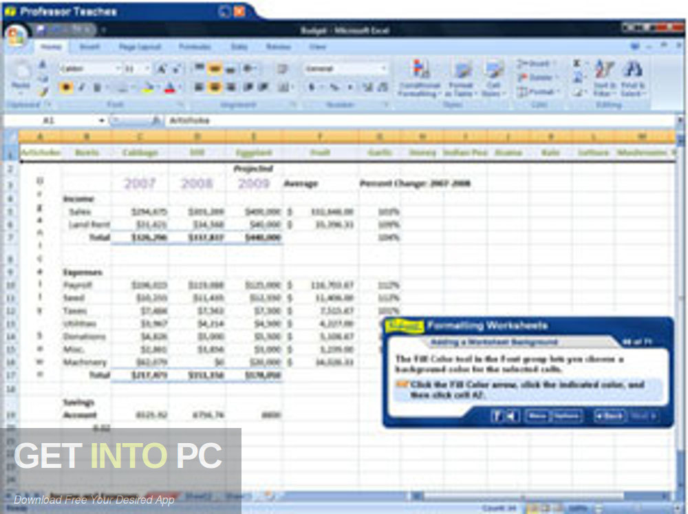 The professor is teaching Microsoft Excel 2007 the latest version of Download-GetintoPC.com