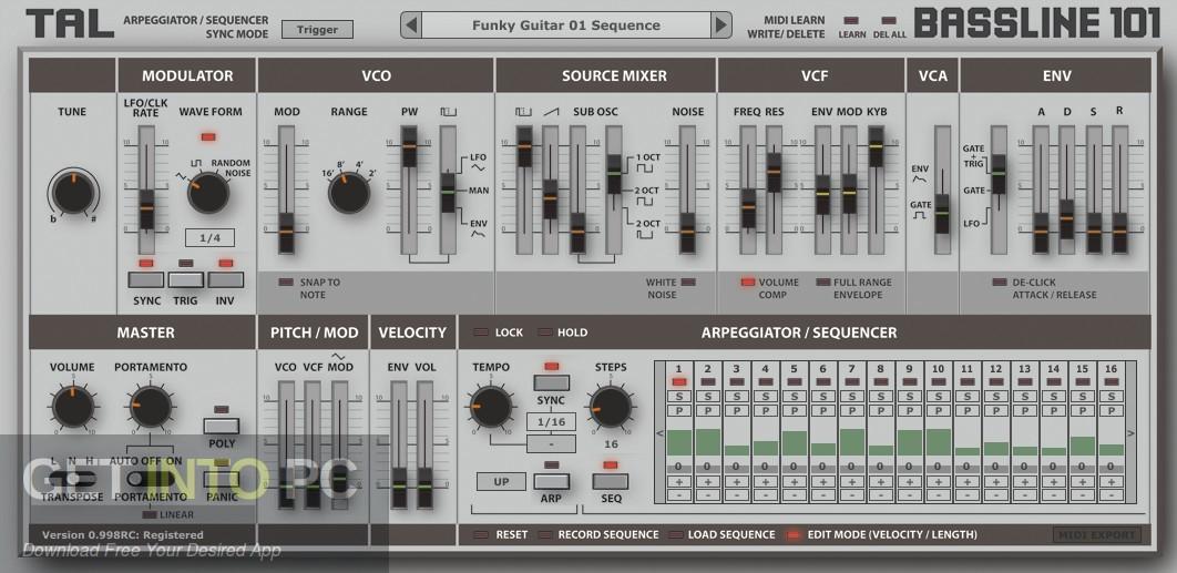 Togu Audio Line TAL-BassLine 101 VST Direct link Download-GetintoPC.com