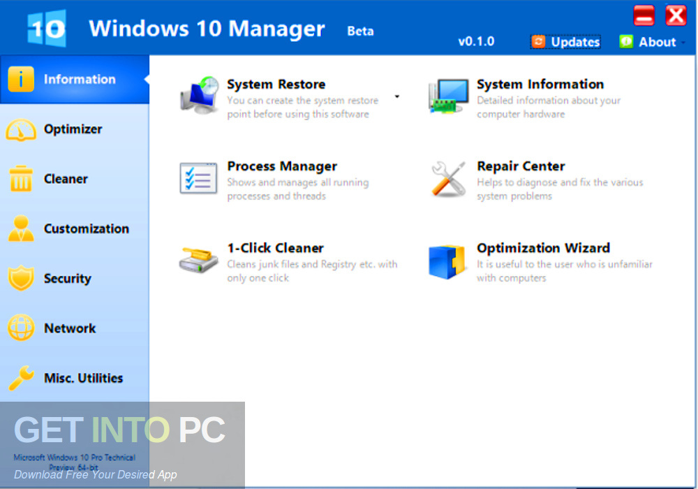 Yamicsoft Windows 10 Manager 2019 Latest version Download-GetintoPC.com