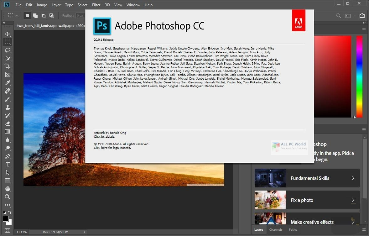 Adobe Photoshop CC 2019 v20.0.5 download for free